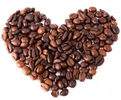 Väggdekor närbild hjärta av naturlig brun stekt kaffe varit