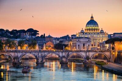 Väggdekor Natt utsikt över basilikan St Peter i Rom, Italien