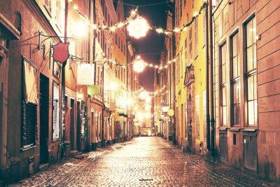 Väggdekor Natten gata i Gamla Stan, Stockholm.