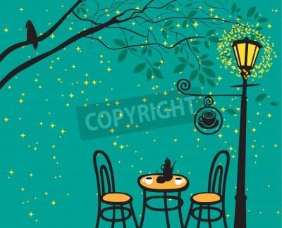Väggdekor nattlandskap med nattcafé i gatlykta