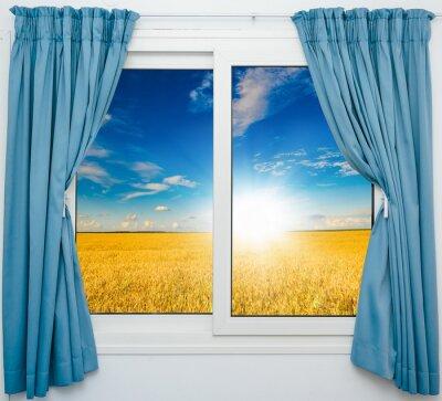 Väggdekor natur landskap med en vy genom ett fönster med gardiner
