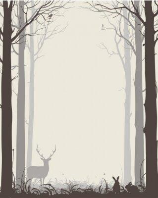 Väggdekor naturlig bakgrund med silhuetter av träd och djur