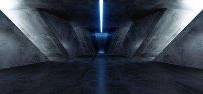 Väggdekor Neon Laser Blue Sci Fi Modern Concrete Cement Dark Empty Asphalt Reflective Grunge Hall Room Corridor Tunnel Spaceship Glowing White Cinematic Daylight Rays Glow 3d Rendering