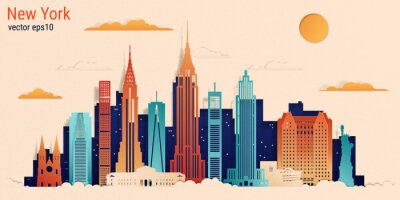 Väggdekor New York city colorful paper cut style, vector stock illustration. Cityscape with all famous buildings. Skyline New York city composition for design.