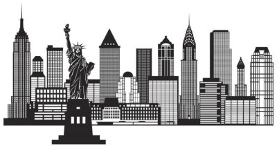 Väggdekor New York City horisont Svartvit illustration Vector
