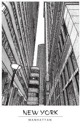Väggdekor New York City, Manhattan. Smal gata i centrum, stadsbild med kända skyskrapor. Vektor illustration i gravering stil. Svart ritning isolerad på vit bakgrund. Perspektiv uppfattning.
