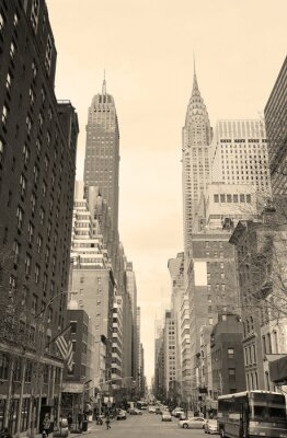 Väggdekor New York City Manhattan street view svart och vitt