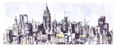 Väggdekor New York City Panorama. Akvarell, bläckgrafik. Arkitektur