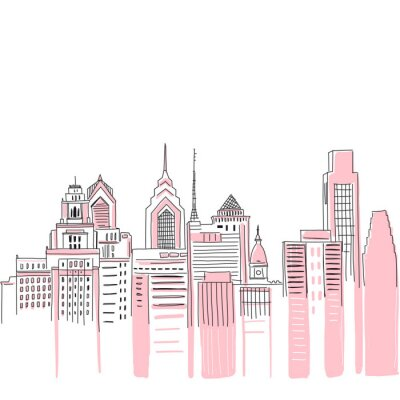 Väggdekor New York city scape background. Hand drawn vector doodle graphics. Pink and black colours. Perfect for girlish design.