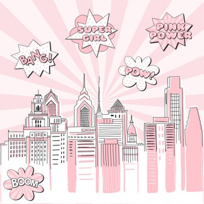 Väggdekor New York city scape on Retro sun ray background with pop art comic fight supergirl power text bubbles . Hand drawn vector doodle graphics. Pink and black colours. Perfect for girlish design.
