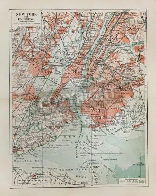 Väggdekor New York gammal karta från slutet av 19-talet