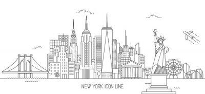 Väggdekor New York skyline line art stil