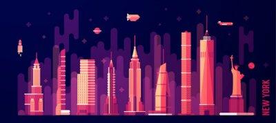 Väggdekor New York stadens silhuett vektor platt stil