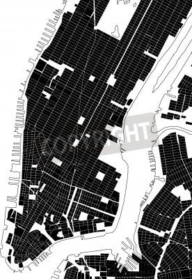 Väggdekor New York svart vit stadsplan - street konsistens