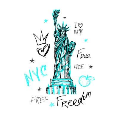 Väggdekor New York, t-shirtdesign, affisch, tryck, staty av frihetsbokstäver, karta, grafik för tee-skjortor, trendigt, torr penseldrag, markör, färgpenna, bläck, akvarell. Handritad vektorillustration.