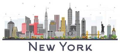 Väggdekor New York USA Skyline med Gråa Skyskrapor Isolerade På Vit Bakgrund.