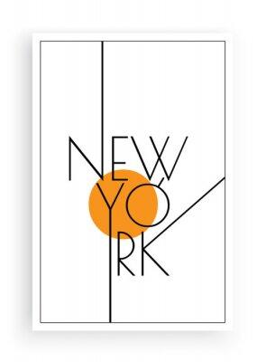 Väggdekor New York, vector. Scandinavian art design. Minimalist poster design. Wall art work, wall decoration. Wording design, lettering
