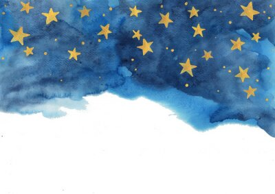 Väggdekor Night sky and gold star watercolor hand painting  for decoration on winter season and Chritsmas holiday.