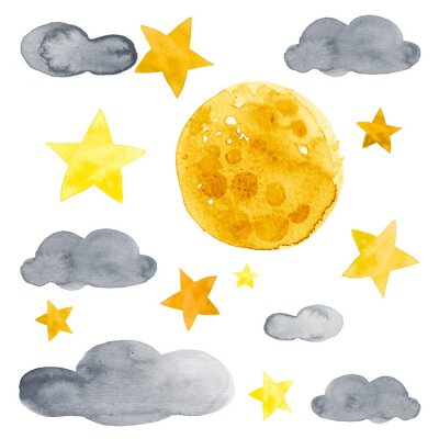 Väggdekor Night sky with moon, stars and clouds watercolor illustration set