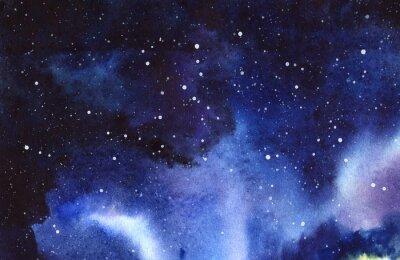 Väggdekor Night starry sky. Hand ritad på en akvarell illustration av vått papper.