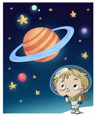 Väggdekor niño en el espacio astronauta