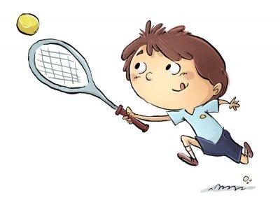 Väggdekor niño jugando en tenis