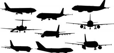 Väggdekor nio flygplan siluetter isolerade på vitt