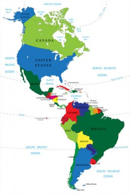Väggdekor Nord- och Sydamerika karta