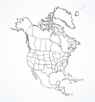 Väggdekor Nordamerikansk kontinent med konturer av länder. Vektorteckning