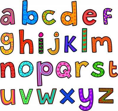 Väggdekor Nyckfull Små bokstäver alfabetet