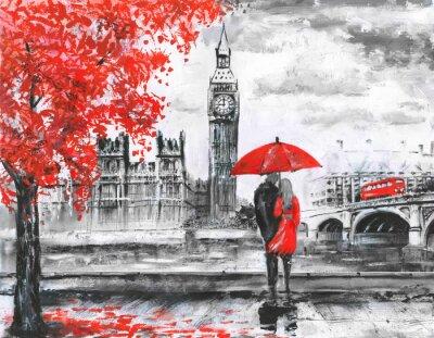 Väggdekor .oil målning på duk, street view of London, floden och buss på bryggan. Konstverk. Stora ben. man och kvinna under ett rött paraply