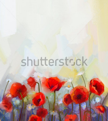 Väggdekor Oil  painting red poppy  flowers.  Spring  floral nature background