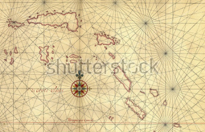 Väggdekor Old map and Compass Rose