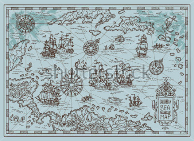 Väggdekor Old map of the Caribbean Sea with pirate ships, treasure islands, fantasy creatures. Pirate adventures, treasure hunt and old transportation concept. Hand drawn vector illustration, vintage background