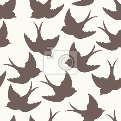 Väggdekor old school mönster med fåglar och brev