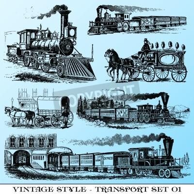 Väggdekor olika vintage-stil illustrationer - gamla överföringsuppsättning