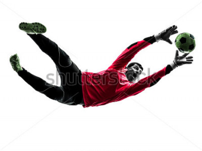 Väggdekor one caucasian soccer player goalkeeper man catching ball in silhouette isolated white background