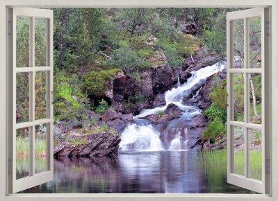 Väggdekor Öppet fönster för att berg vattenfall och damm
