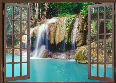 Väggdekor Öppet fönster för att djup djungel vattenfall