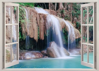 Väggdekor Öppet fönster för att Erawan Falls, Thailand