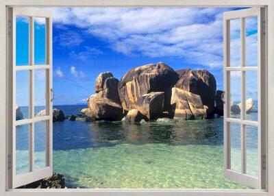 Väggdekor Öppet fönster för att stranden av Seychellerna