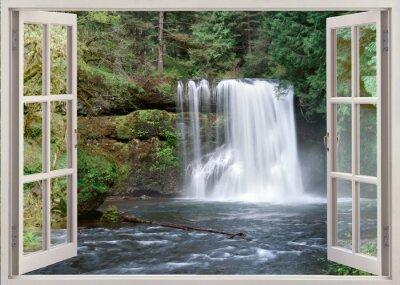 Väggdekor Öppet fönster för att Upper Notrh Falls och floden