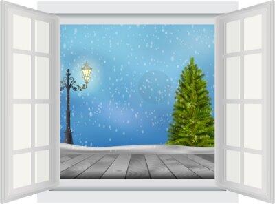 Väggdekor Öppna fönster julgran och lyktstolpe på vinter bakgrund