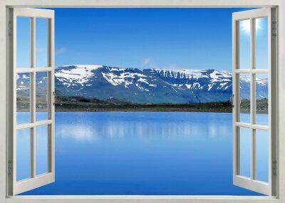 Väggdekor Öppna fönster utsikt till snö berg och sjö