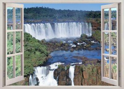 Väggdekor Öppna windoq panorama vuew till Iguacu nedgångar, Brasilien