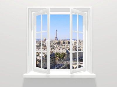 Väggdekor Öppnade fönstret och utsikt över Eiffeltornet, Paris