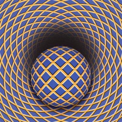 Väggdekor Optisk illusion av bollen rullar i ett hål. Abstrakt bakgrund.