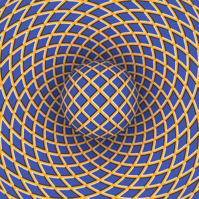 Väggdekor Optisk illusion av rotation av bollen mot bakgrund av ett rörligt utrymme.