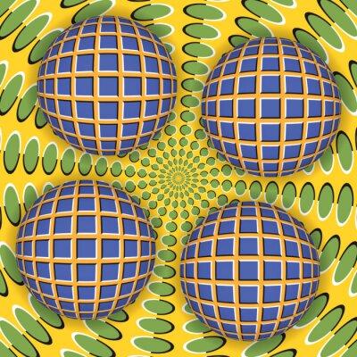Väggdekor Optisk illusion av rotation av fyra bollen runt av en rörlig yta. Abstrakt bakgrund.