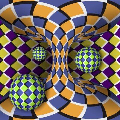 Väggdekor Optisk illusion av rotation av tre bollar runt av en rörlig hyperboloid. Abstrakt bakgrund.